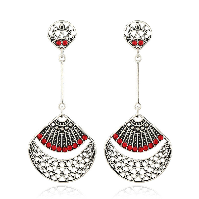 Vintage Antique Silver Red Rhinestone Ear Drop Retro Earrings for Women