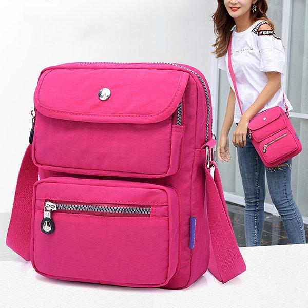 Women Nylon Travel Passport Bag Crossbody Travel Bag Waterproof Double Layer Shoulder Bag