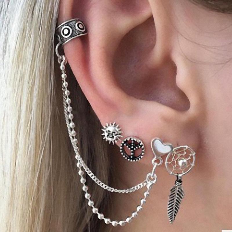 Punk Alloy Peace Symbol Sun Leaf Heart Stud Earrings 4 Pcs/set Earrings for Women