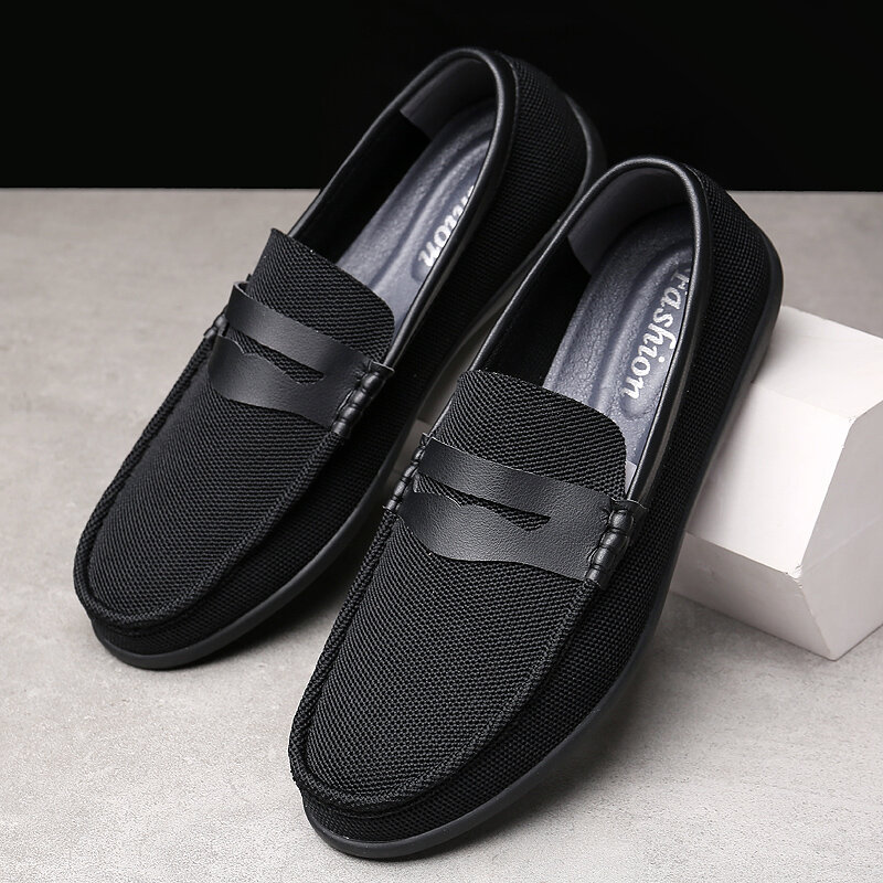 Men Mesh Fabric Breathable Non Slip Casual Slip On Loafers