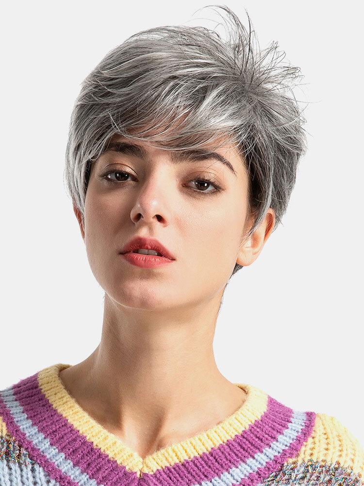 Fashion Gray Human Hair Short Wigs Real Human Hair Mixed Straight Wigs For Women 22 Inch
