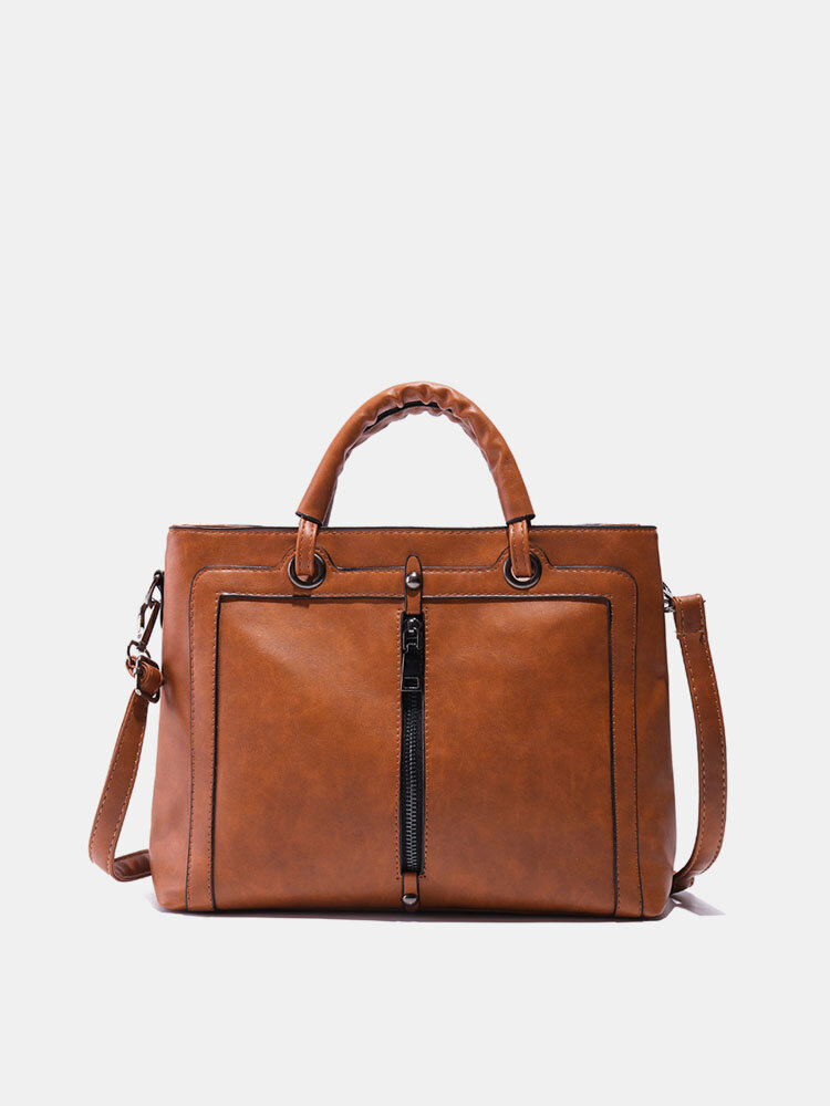 Women PU Leather Square Tote Bag Oil Leather Crossbody Bag
