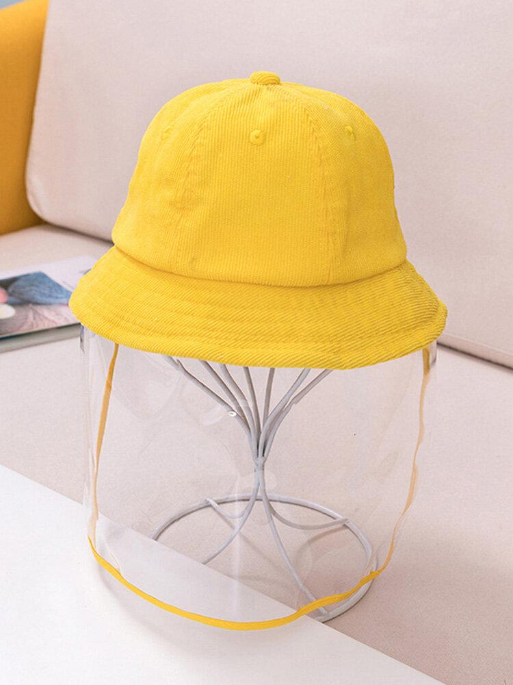 Children's Weatherproof Corduroy Fisherman Hat Removable Face Screen