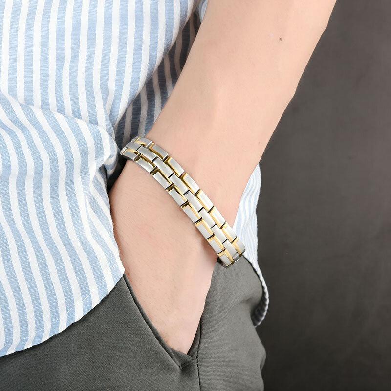 12mm hommes en acier inoxydable chaîne Bracelet 4 en 1 énergie aimant bracelet soins de santé bijoux cadeau