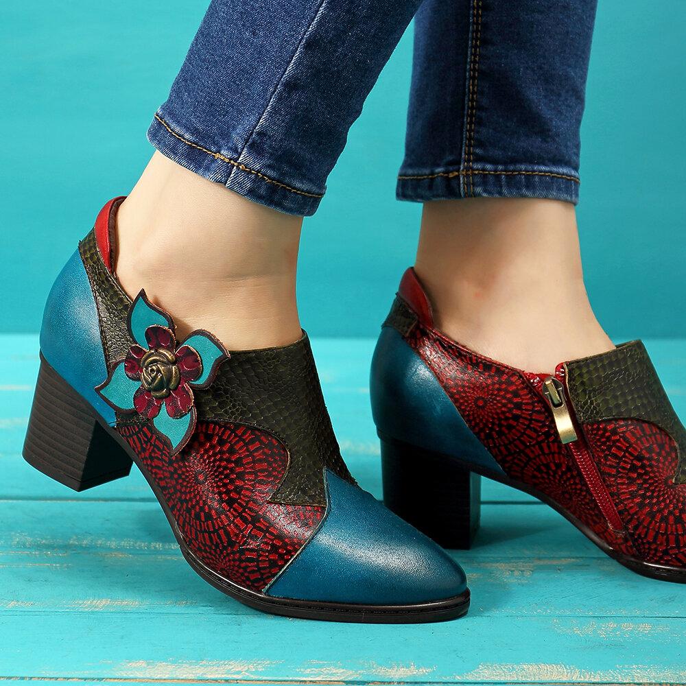 SOCOFY Vintage Hand Painted Floral Splicing Pattern Zipper Mid Heel Genuine Leather Pumps