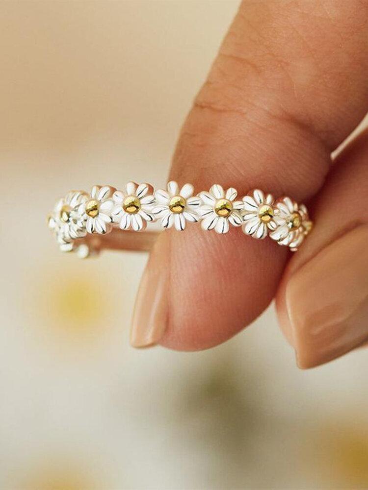 Vintage Fresh Little Daisy Opening Adjustable Alloy Ring