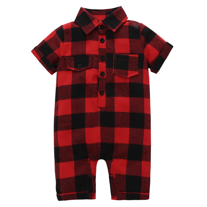 Plaid Pattern Soft Cotton Baby Romper For 0-24M