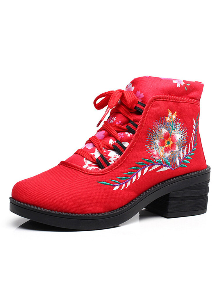 Women Folkways Floral Embroidery Non Slip Soft Sole Chunky Heel Short Boots