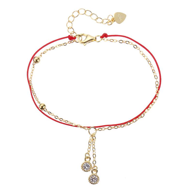 Braccialetti con catena a forma di goccia di zircon con braccialetti portafortuna in argento sterling 925 per donne