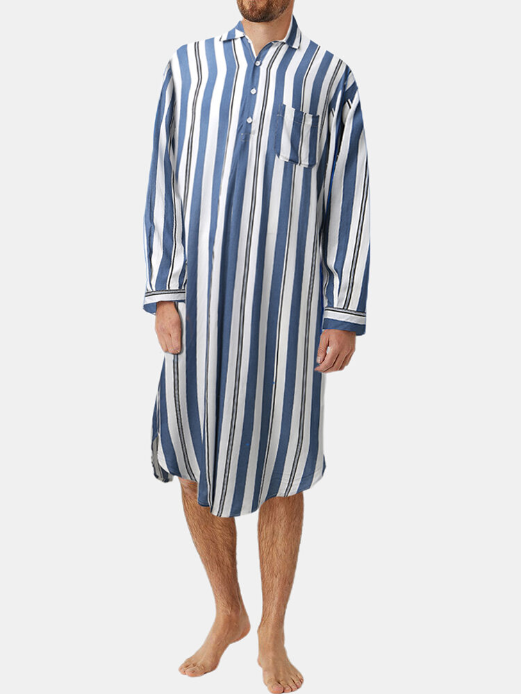 Mens Striped Knee-Length Pocket Tops Homewear Casual Long Shirts Robes