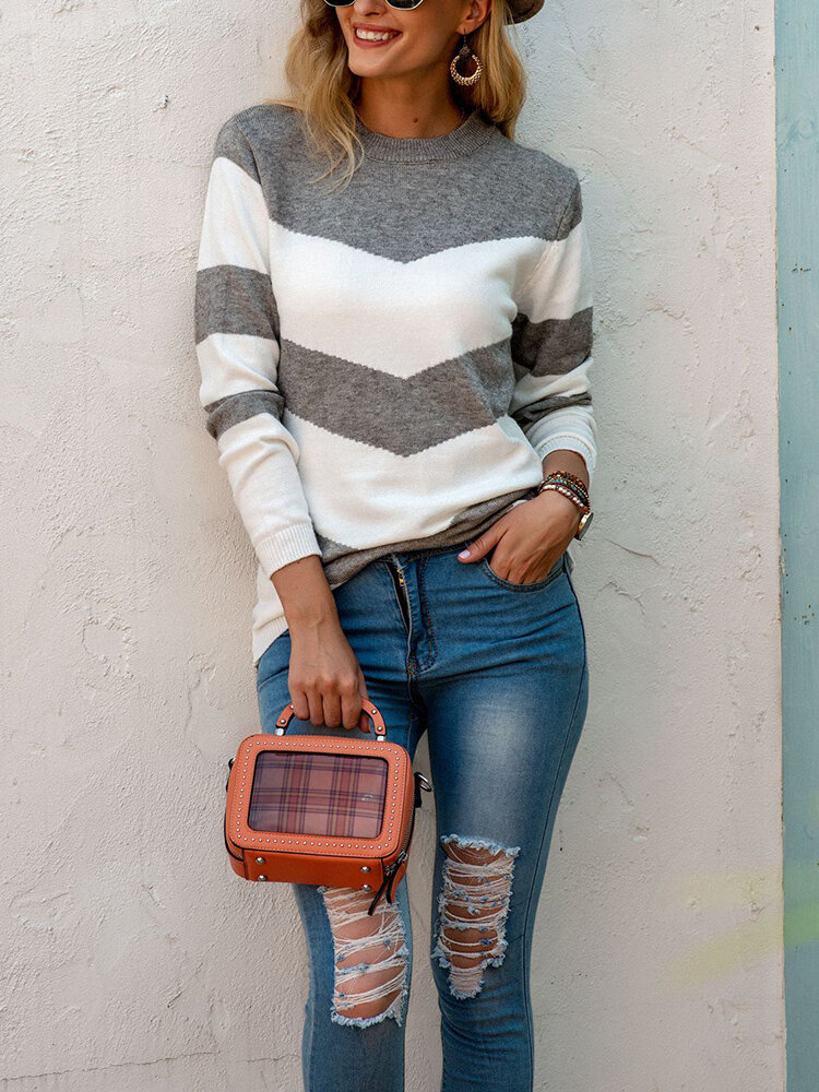 Casual Striped O-neck Long Sleeve Knit Sweater