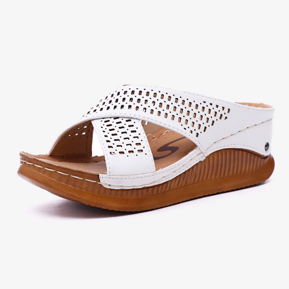 Women Peep Toe Hollow Out Summer Beach Wedges Sandals