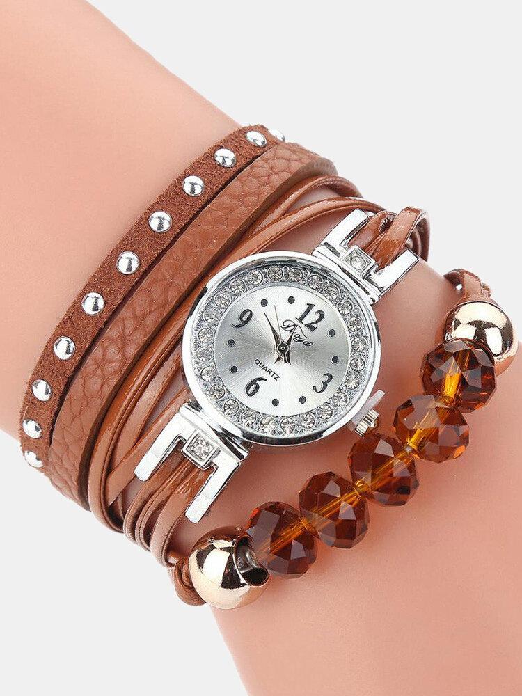 Crystal Casual Style Women Bracelet Watch Gift Leather Strap Quartz Watch