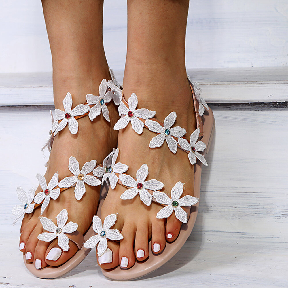 Women Flowers Decor Casual Comfy Clip Toe Strappy Flat Sandals