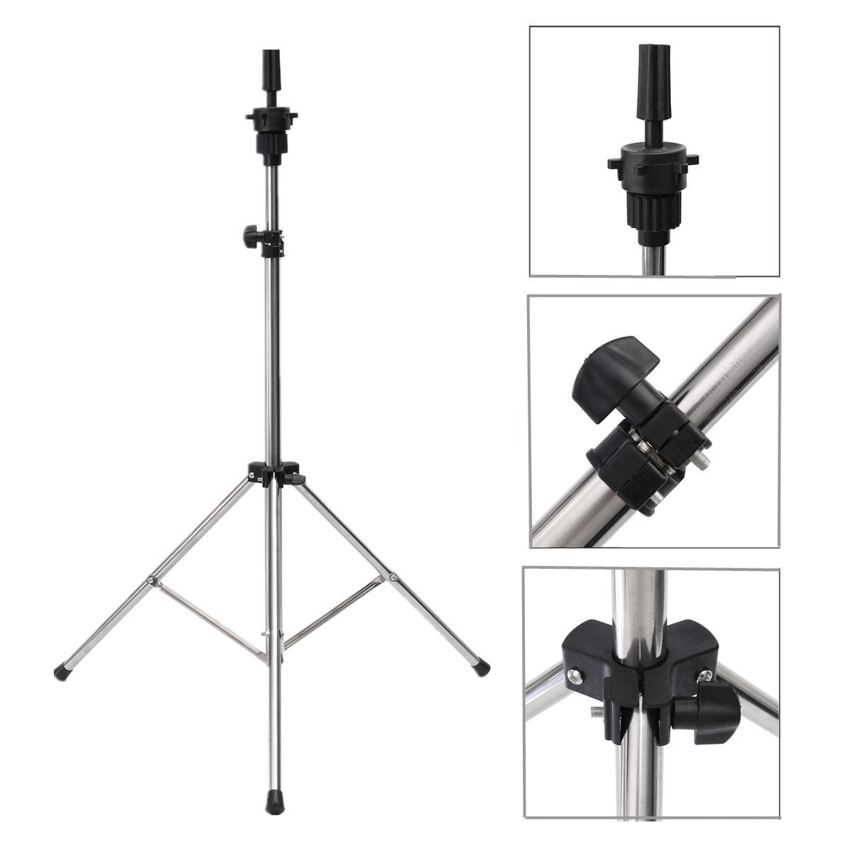 Adjustable Hair Wig Head Tripod Stand Holder For Hairdressing Training Mannequin Practice