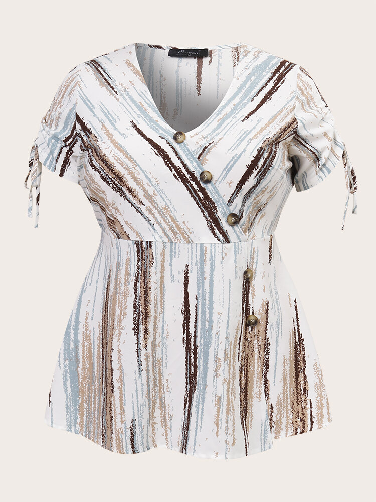 Striped Print Tie-up Cuffs V-neck Buttons Plus Size Blouse