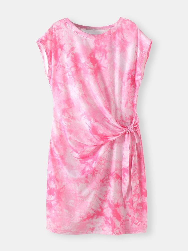 Knotted Short Sleeve O-neck Tie Dye Women Print Dress