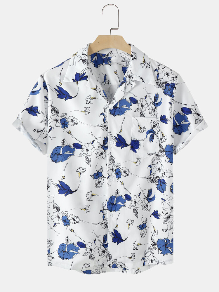 Mens All Over Floral Print White Camp Collar Shirt With Pocket
