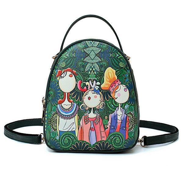 Women Forest Print Bohemian Multi-function Backpack Travel Crossbody Bags