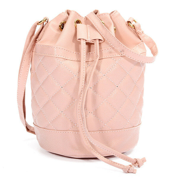 Women Candy Color Ling Bucket Crossdody Bag