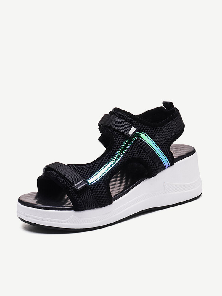 Women Mesh Stitching Breathable Casual Wedges Sports Sandals