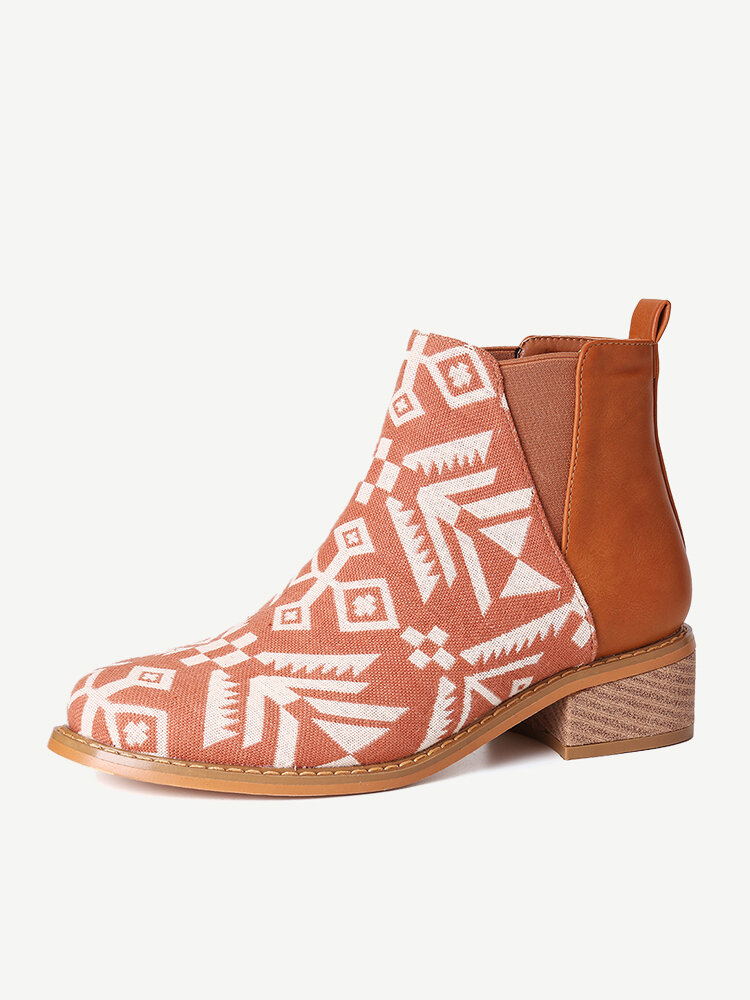 Printing Cloth Splicing Block Casual Chelsea Boots For Women