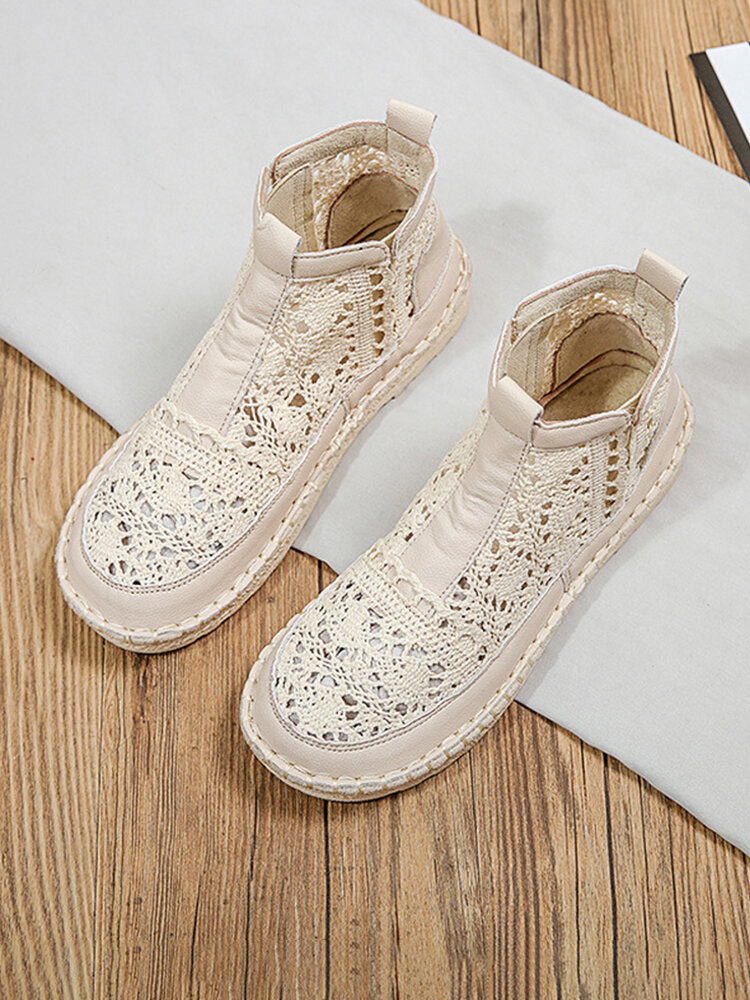 Women Breathable Hollow Out Mesh Fabric Cloth Casual Side Zipper Fisherman Ankle Boots