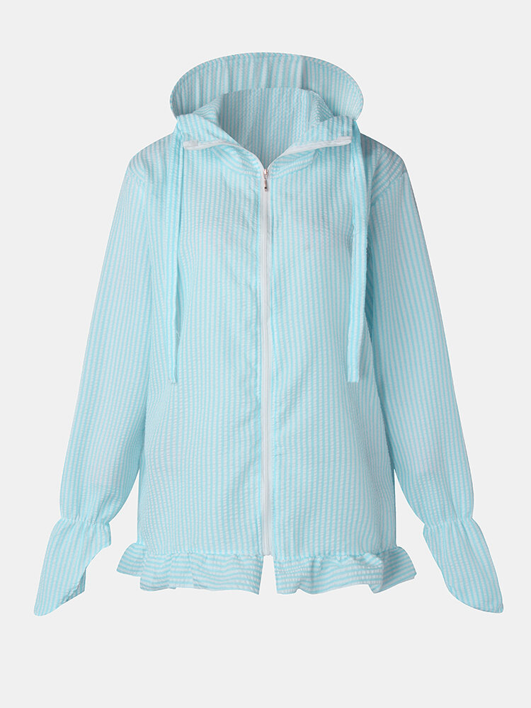 Striped Hooded Hiking Plus Size Protective Jackets