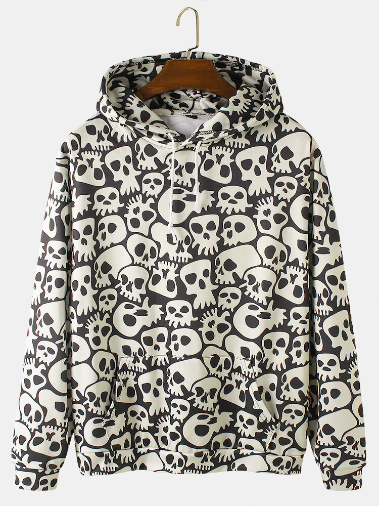 Mens Allover Skull Print Halloween Loose Drawstring Hoodies With Kangaroo Pocket