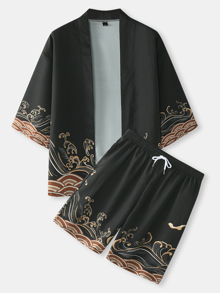 Mens Japanese Waves Print Open Front Kimono Two Pieces Outfits