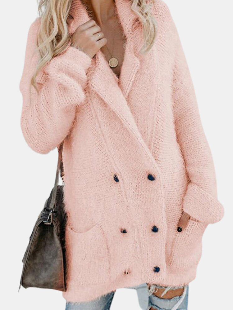 Solid Color Button Pockets Long Sleeves Thicken Casual Coats for Women