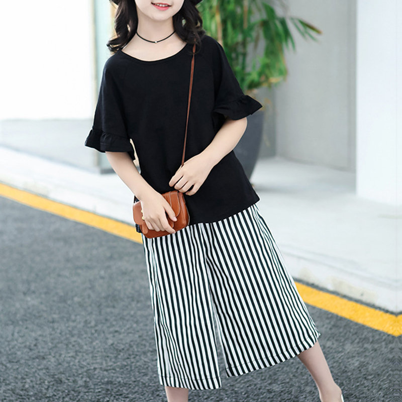 2Pcs Leisure Style Girls Kids Clothes Set Ruffle T-shirt + Striped Pants For 4Y-15Y