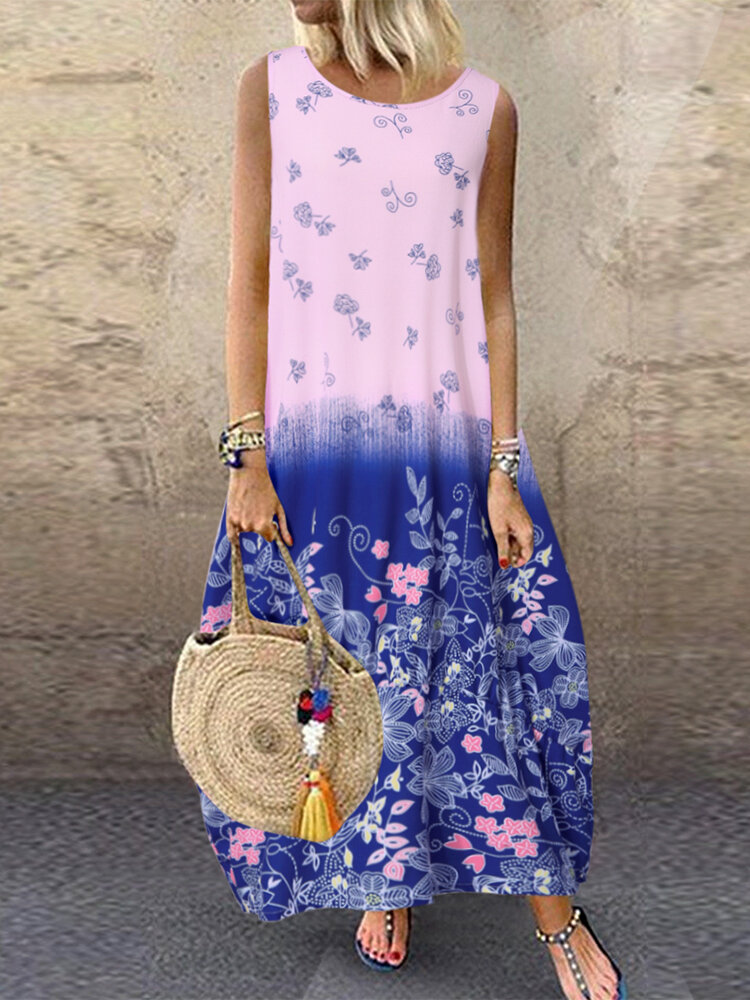 Summer Floral Print Sleeveless Loose Plus Size Maxi Dress