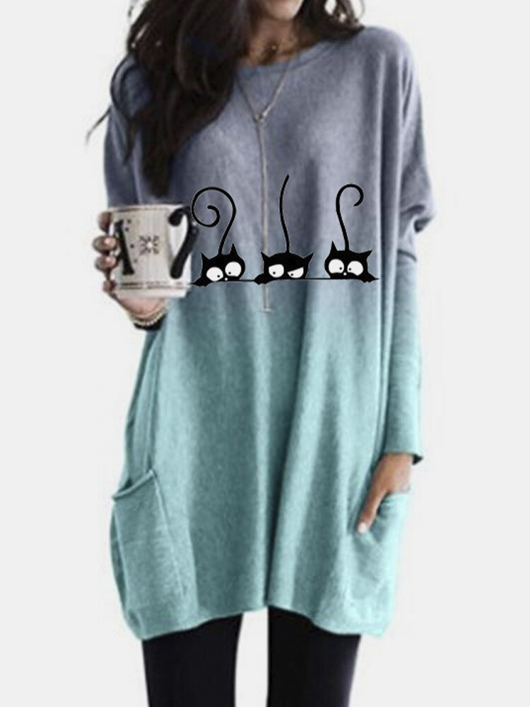 Cat Print Long Sleeves O-neck Casual Blouse For Women