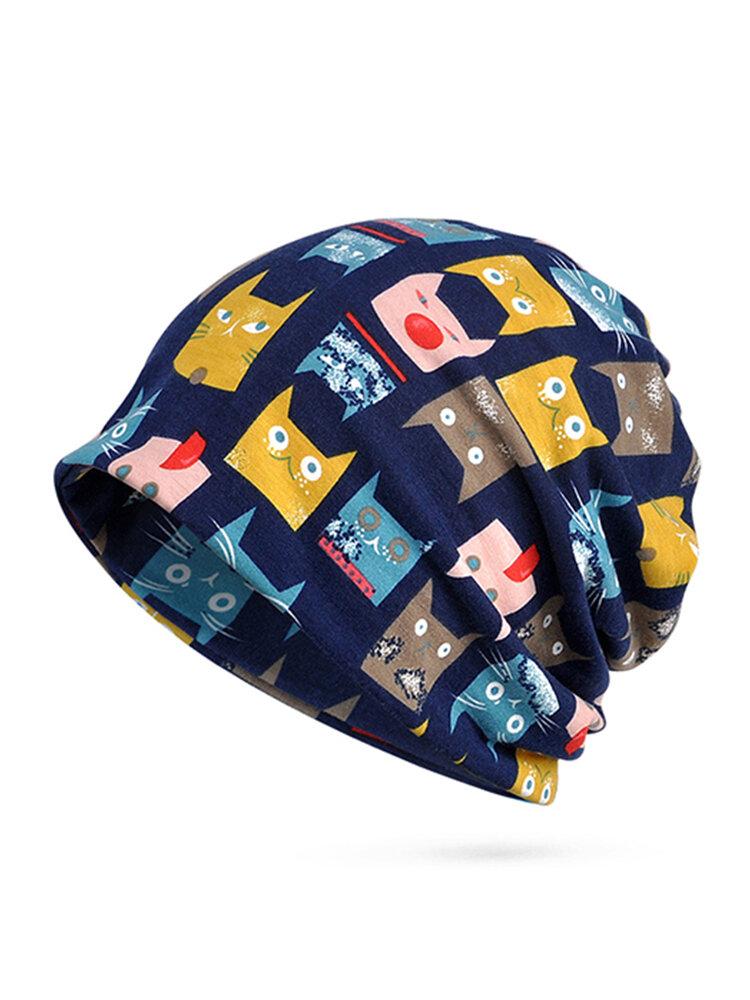 S hiver chat motif coton bonnet bonnet écharpe velours épais chaud slouchy Skullies bonnet chapeau - Newchic - Modalova