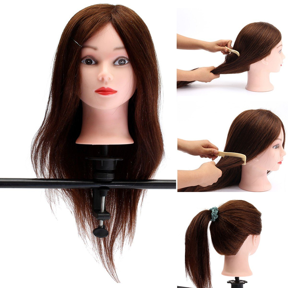 20 Inch Human Hair Hairdressing Practice Training Head Mannequin With Clamp
