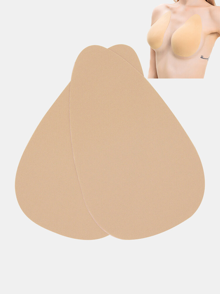 Women Solid Teardrop-Shaped Push Up Strapless Nonwoven Cloth Sticky Bra