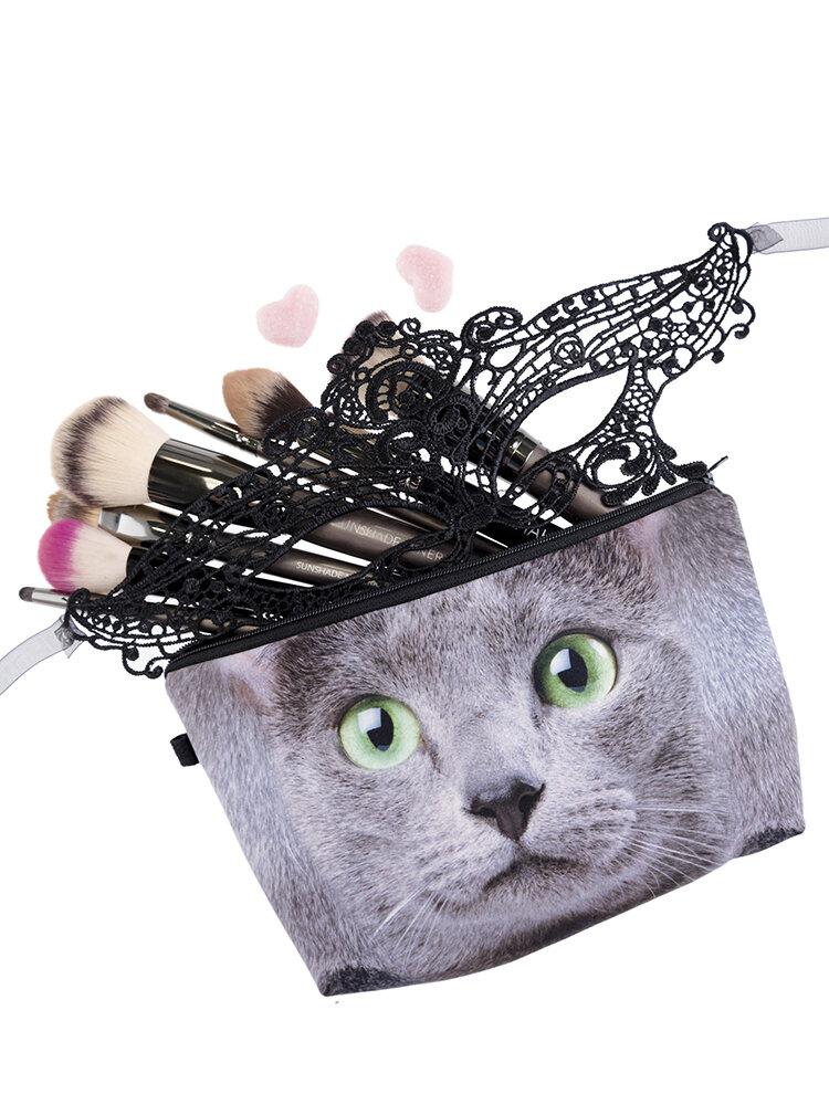 Cats 3D Printing Multi-Functional Cosmetic Bag Clutch Bag Storage Wash Bag
