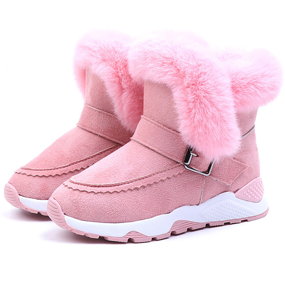 Girls Solid Color Plush Decor Warm Lining Outdoor Snow Boots For Kids