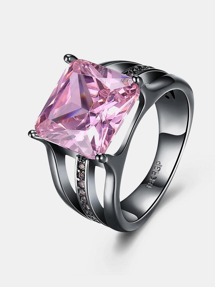 INALIS Women's Elegant 12mm Gun Black Plated Zircon Rhinestone Diamond Rings Gift