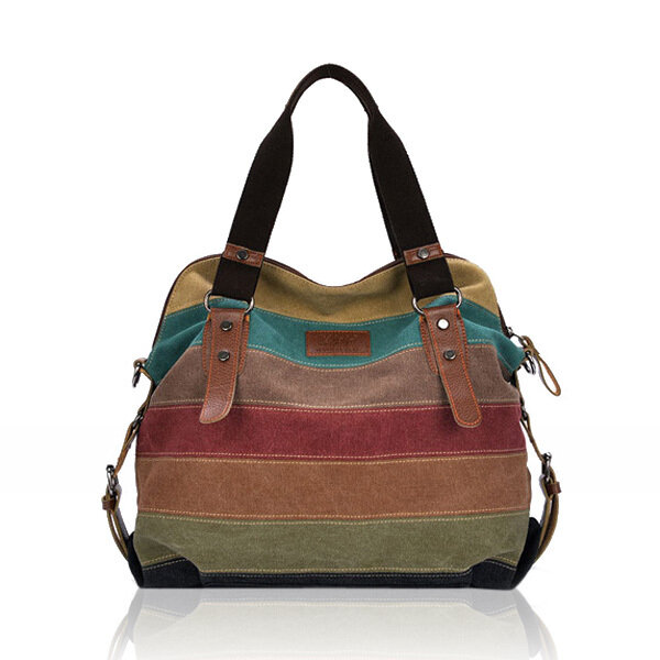 Donna Borsa a Mano e da Spalla Casual Tessutoa di Tela a Righe in Blocking Color con Multi Tasche