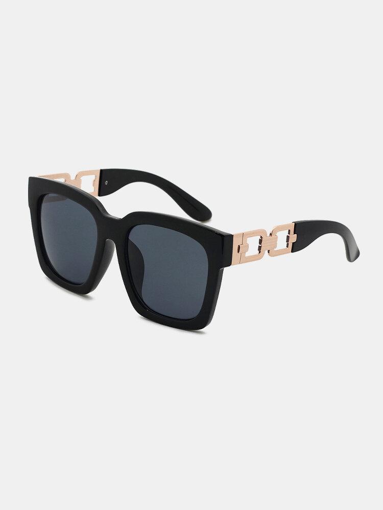 Men Full Square Frame Wide Side Hollowed Lens Legs UV Protection Fashion Sunglasses