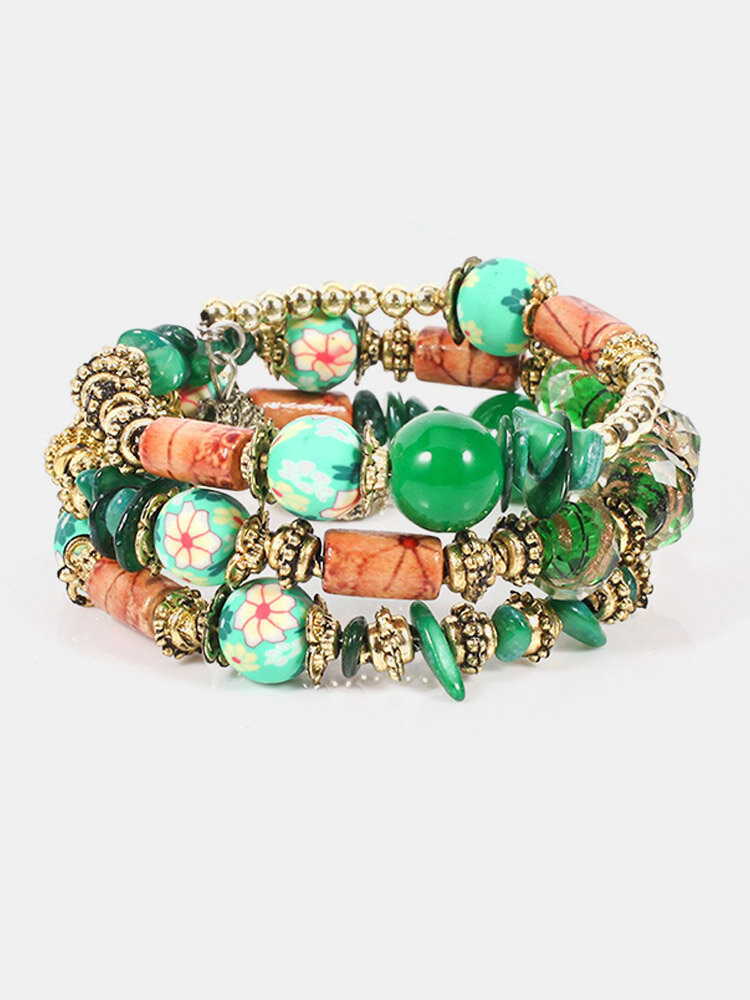 Bohemian Glass Printed Bead Bracelet Multi-Layer Bead Bracelet Retro Style For Women