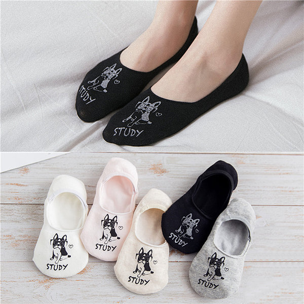 Women Cute Harajuku Print Dog Invisible Boat Socks Anti-skid Breathable Funny Socks