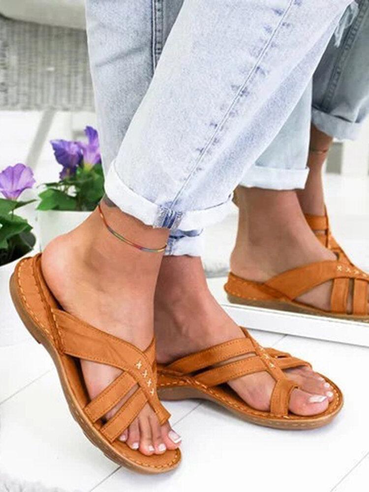 Women Large Size Comfy Flat Clip Toe Outdoor Sandals