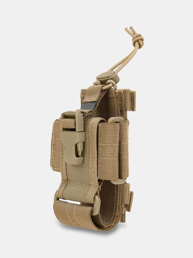 Canvas Outdoor Soild Multifunction Radio Leather Case 4.5 Inch Phone Bag Belt Bag