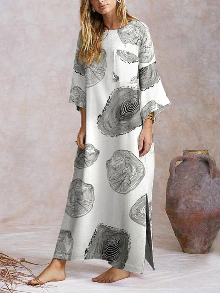 分割木目プリント長袖Plusサイズドレス