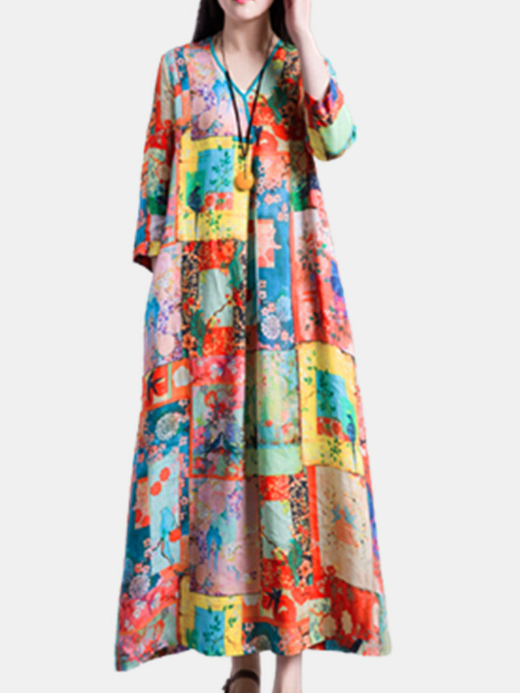 Ethnic Print V-neck Knotted Plus Size Dress for Women