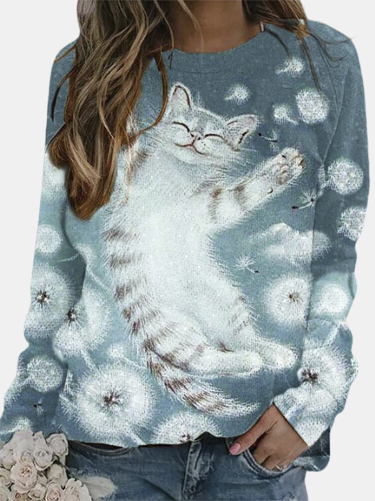 Cartoon Cat Printed O-neck Pullover Graphic Sweatshirt For Women