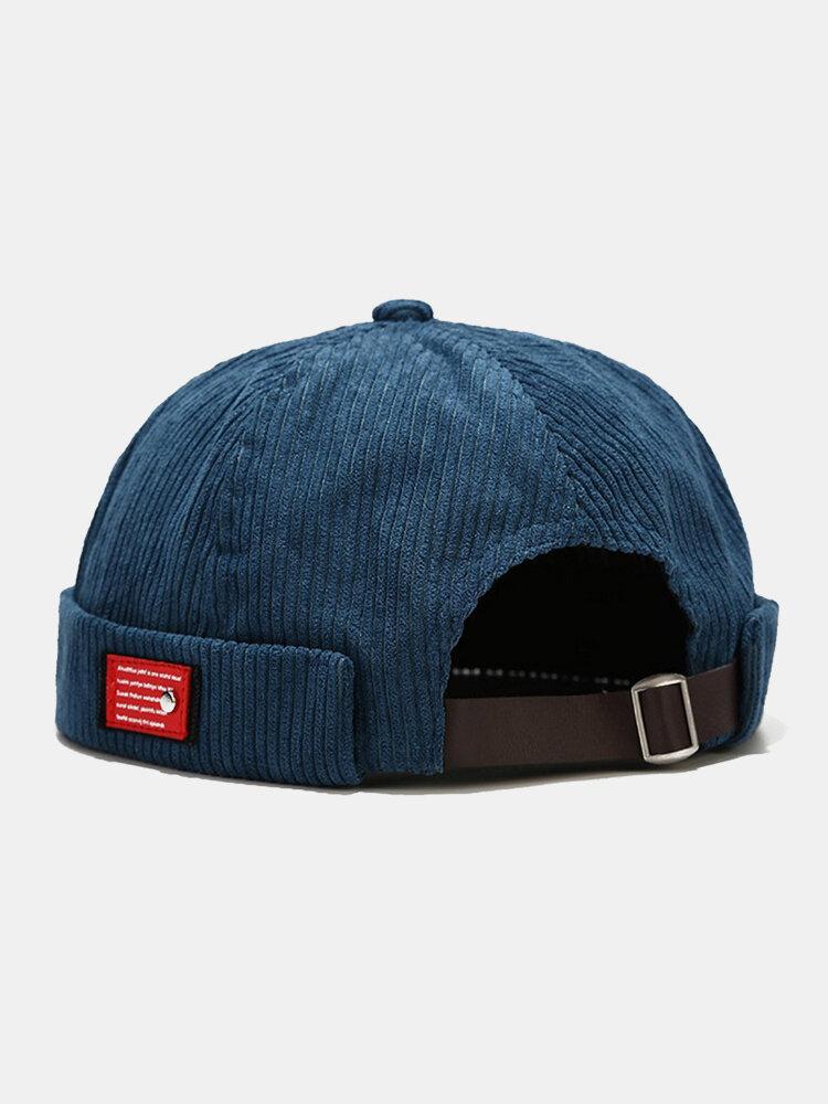 Hommes et femmes en velours côtelé décontracté rétro personnalité mode sans bord bonnet crâne chapeau propriétaire chapeau